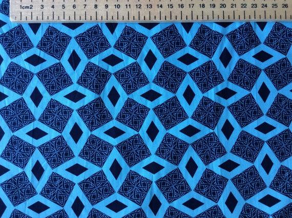 High quality cotton poplin, blue geometrical tribal or Japanese print