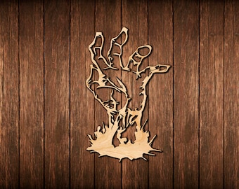 Zombie Hand Wall Sign / Zombie Apocalypse / Logo Wooden Cutout Room  Decoration / Wood Hanging