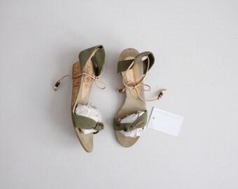 sage green cork wedges | wedge sandals 7.5 | ankle tie sandals 8