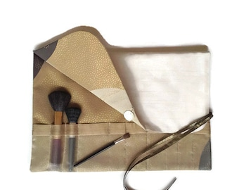 Makeup Brush Roll Gold and Cream