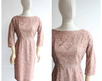 Vintage 1950's Lace Dress Pink Lace Dress Vintage goodwood revival fifties midcentury bridesmaid vintage wedding wiggle dress pinup UK 12