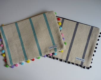 Zippered  bag/ large pouch/ pompon pouch