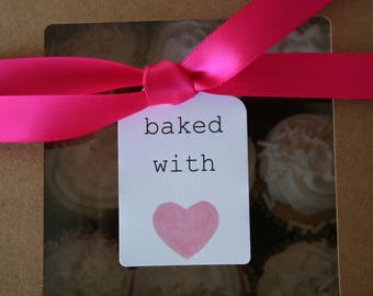 baked with love gift tags, party favor tags, party tags, bakery tags, watercolor gift tags, watercolor tags, baking tags