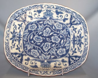Beautiful Andre by Sadek blue and white oblong bowl.