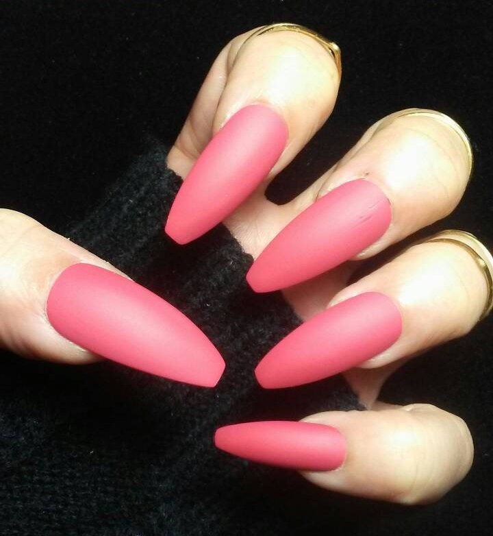 Long Matte Coffin Nails Mauve Red Pink Rose Wedding