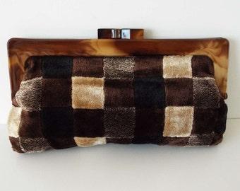 Vintage 1970's Velvet Patchwork Chequerboard Clutch Handbag Purse Evening Bag  Retro