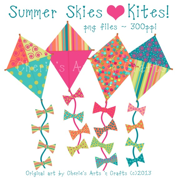 kites clip art summer kites kite graphics kites summer kites rh etsystudio com colourful kites clipart flying kites clipart black and white