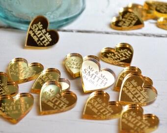 50 Personalised Heart Wedding Table Centerpiece Decorations & Wedding Favours 2CM - Luxury Golden Wedding Gold Mirror - Golden Anniversary