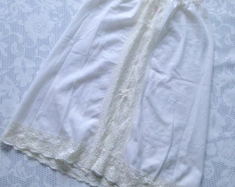 St. Michael's cotton half slip with lace, for summer, size Large - vintage British lingerie