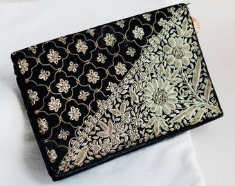 Black silver clutch_vintage purse_bohemian pattern_velvet ladies bag_floral design_retro purse_indian boho style_volume wire embroidery