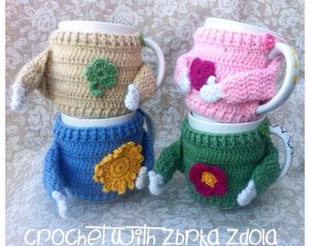 Sweater mug cosy - Crochet Pattern (No. 015), Set of 5 cozy patterns, coffee cozy, crochet cozy pattern, tea cozy pattern