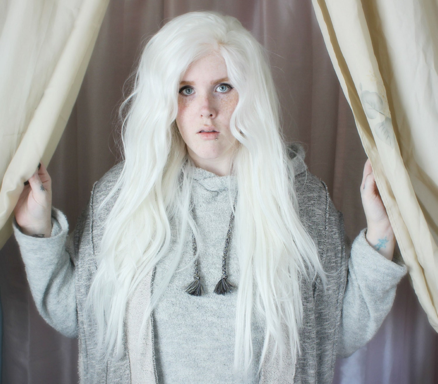 White Lace Front Wig Long White Wig Wavy Long Fairy