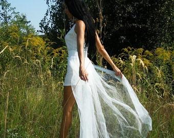 White Tulle Tail, Black Tulle Train, Elastic Belt Tulle Skirt, Overskirt, Overlay Skirt