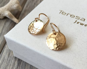 Gold Earrings, Hammered Gold Disc Earrings, Small Disc Earrings