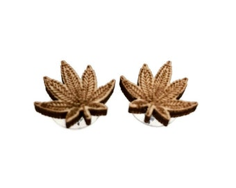 Cannabis Earrings, Studs, Silver plated, wood, 420, leaf, wooden, marijuana, dispensary, decor, gift for her, stoner, jewelry, merchandise