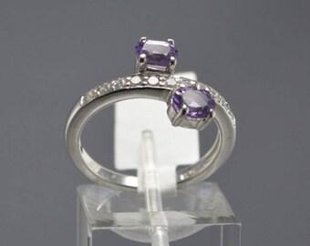 Amethyst Sterling Silver Ring, Rhodium Plated, Natural Gemstone, February Birthstone