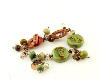 Lampwork Bracelet Antique Copper, Green Lampwork Beads, Chunky Beaded Jewelry
