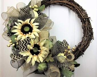 Front Door Fall Wreath, Grapevine Fall Wreath, Sunflower Grapevine Wreath, Outdoor or Indoor Wreath Black /Taupe Deco mesh, Gourds, Pumpkins