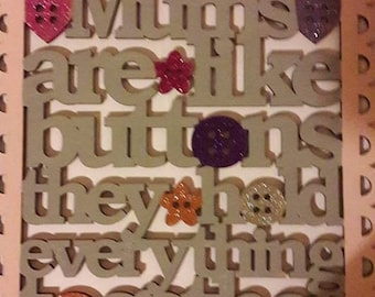 mothers day, mothers are like buttons, wooden mdf plaques, handpainted gifts,