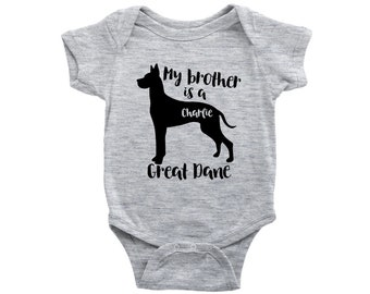 My brother is a Great Dane Baby Bodysuit, Funny Toddler Baby Shirt, Dog Baby Girl Gift, Baby Boy Clothes, Personalized Baby Shower Gift