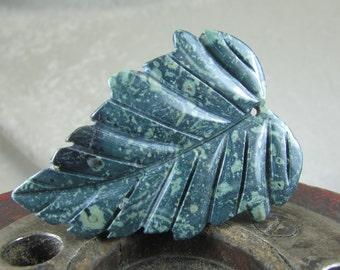 Khambaba Jasper carved leaf pendant