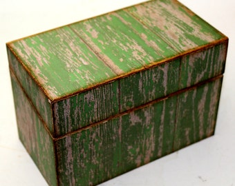 SALE Bridal Shower Recipe Box Green Faux Barn Wood Fits 4x6 Recipe Cards