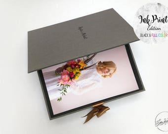 "INK 5""x7"" (13x18cm) Proof Box Single Medium, Presentation Box / Heirloom Photo Packaging or Gift Box/"