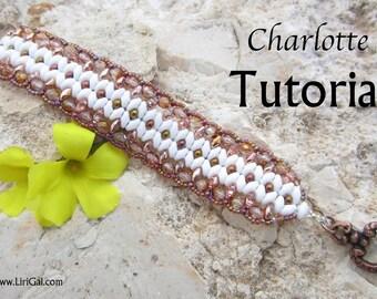 Charlotte  Twin  Superduo  Beadwork Bracelet PDF Tutorial