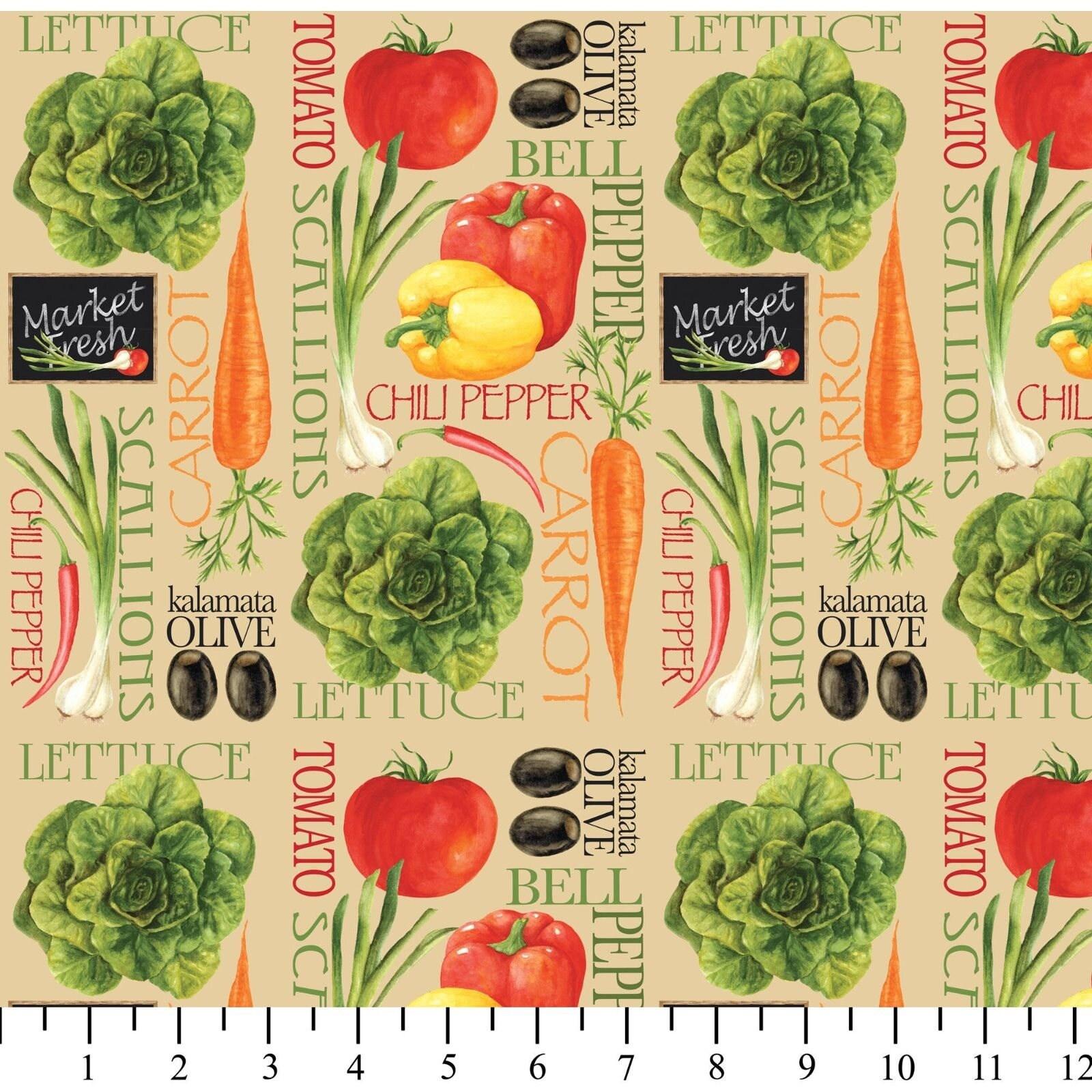 Kitchen Decor Vegetables: Vegetable Fabric Kitchen Fabric: Fresh Produce Kitchen Decor