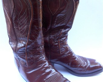 Vintage Burgundy Mens Cowboy Boots Maroon Cowboy Mens Boots Vintage Dan Post Mens Cowboy Boots Men Size 10D Cowboy Leather Western Boots