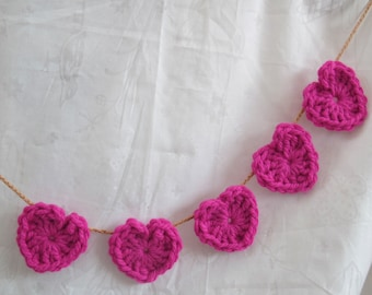 Lipstick pink heart garland (choice of length) / Heart Garland photo prop / girls birthday party photo booth decor