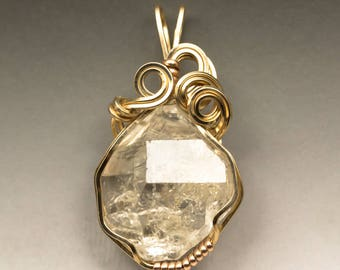 Herkimer Diamond Quartz Crystal Yellow & Rose Gold Wire Wrapped Pendant, Read to Ship!