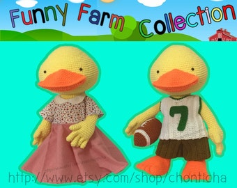 Funny farm Duck duck 22 inches - PDF amigurumi crochet pattern