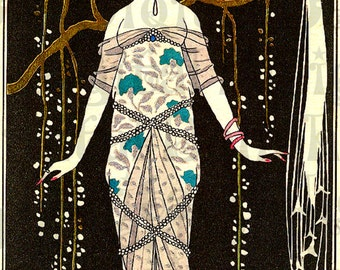 Delicious Art Deco Flapper. BARBIER Fashion Plate. VINTAGE  Illustration. Art Deco DIGITAL Download.