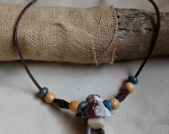 Deer bone and moonstone beaded necklace