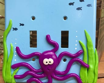 Octopus Switch Plate Cover, Double Switch Plate, Nautical Decor, Octopus, Fish Decor