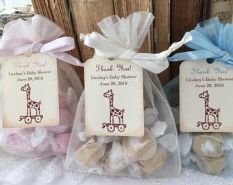 Giraffe Baby Shower Bags Favor Bags Organza Bags and Personalized Tags Set of 10
