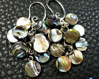 Pretty Natural Abalone Shell Plated Silver Cluster Earrings