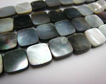 black lip shell flat square 10x10mm 15 inch strand