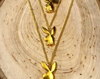 Playboy Bunny Gold Pendant Necklace