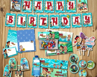 Jake and the Neverland Pirates Birthday Party Collection, Jake and the Neverland Pirates Birthday, Banner, Tag, Bag, Food | JAKE_FULL