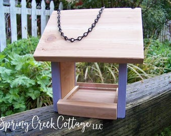 Bird Feeders, Rustic, Non-Toxic, Housewarming Gifts, Cedar Feeder, Handmade, Hanging Feeder, Personalized, Custom, Handpainted, Gifts