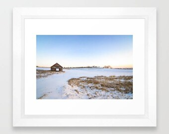 Iowa Landscape Print, Winter Photography Print, Farmhouse Decor Rustic Country Wall Decor, Farm Landscape Art, Old Barn Photos Gifts