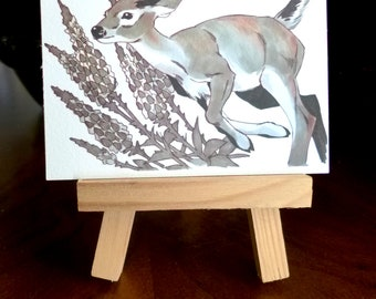 Original illustration matte print ACEO 3.5 x 2.5, home decor, animal art, artwork, collectible art, decoration, wall art, Jumping deer