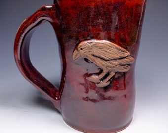 Raven Handmade Pottery Stoneware Mug Blood Red glaze from Sidhefire Arts