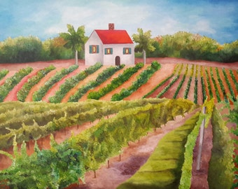 "California Vineyard And Orchard Original Acrylic Painting 18"" x 24"" on Canvas"