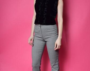 Vintage 90's Black Velvet Top / Embroidered Velvet Vest - Size Small