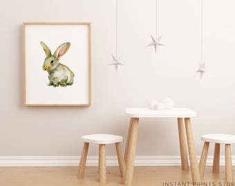 Rabbit Bunny Print Art Watercolor White Nursery Woodland Decor Baby Animal Modern Art Printable Kids Children Girl Artwork Downloadable