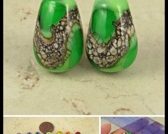 Teardrop Lampwork Glass Bead Pair with Organic Web Small Grass Green
