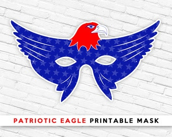 Red White & Blue Eagle Mask | Ultra Patriotic USA Bird Mask | 4th of July Printable